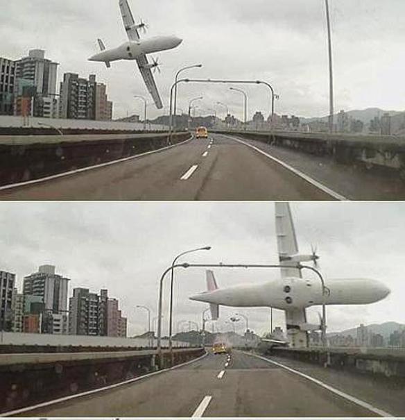 TransAsia Airways plane crash.  Pic Source:  SMH news
